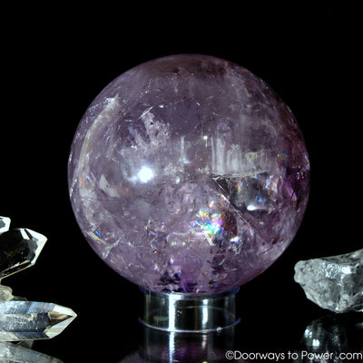 John of God Amethyst Violet Flame Devic Temple Crystal Sphere w/ Rainbows