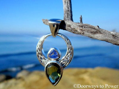 Moldavite & Tanzanite Celtic Angel Pendant .925 SS