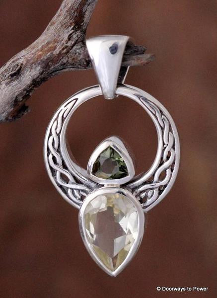 Libyan Desert Glass & Moldavite Celtic Angel Pendant .925 SS