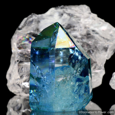 Aqua Aura Quartz Temple Heart Dow Crystal Point w/ Rainbows