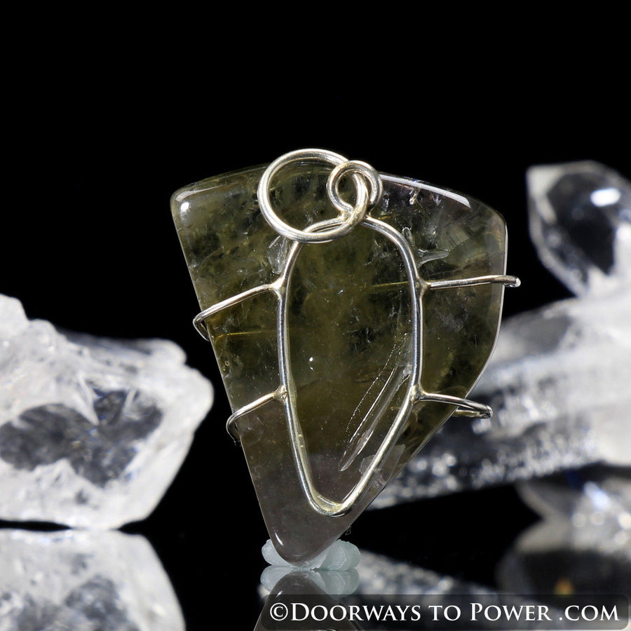 Emerald Auralite Wire Wrap Pendant .925 SS
