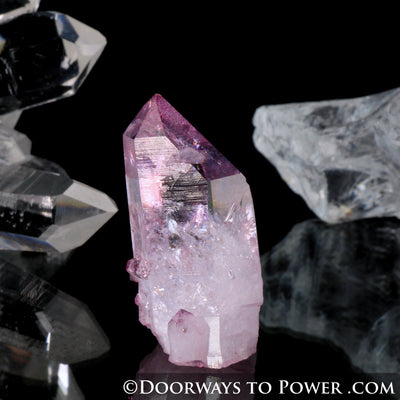 Radiant Rose Aura Arkansas Quartz Crystal Point w/ Rainbows