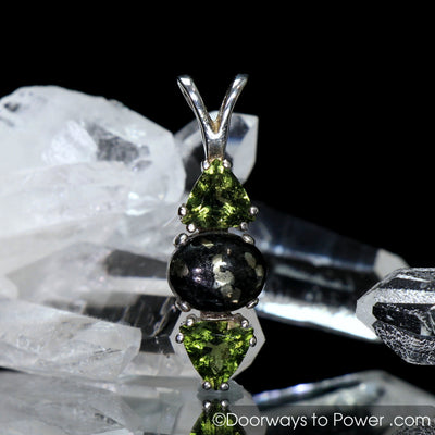 Healers Gold & Moldavite Gemstone Pendant SS A +++ Top Quality