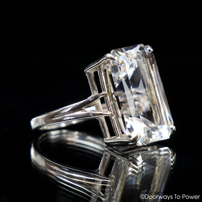John of God Quartz Casa Crystal Faceted Gemstone Ring .925 SS