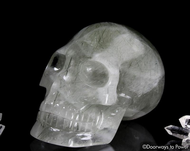 Rutilated Quartz Epidote Crystal Skull 'Epidosis'