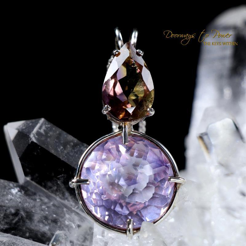 Ruby Lavender Quartz Pendant with Ametrine