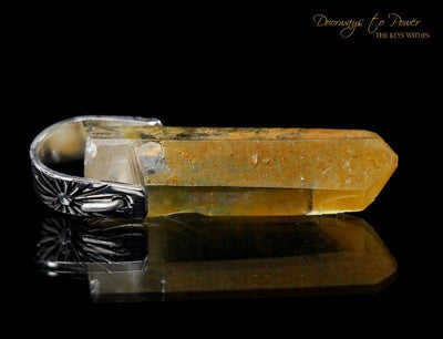 Tangerine Lemurian Light Language Crystal Pendant