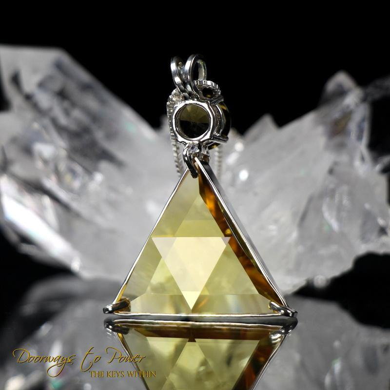 Siberian Gold Quartz Moldavite Star of David Pendant