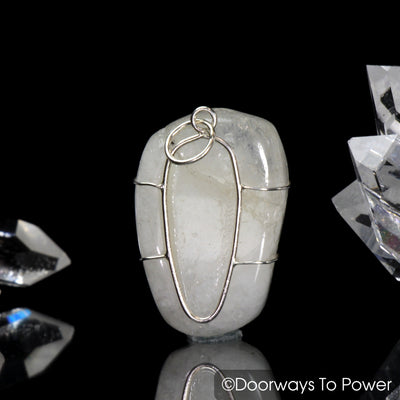 Original White Azeztulite Crystal Pendant Azozeo Activated Synergy 12 Stone