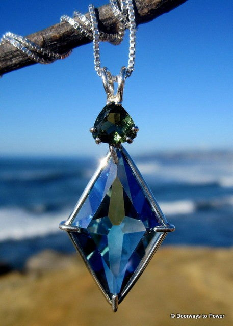 Aqua Aura Moldavite Ascension Star Crystal Pendant