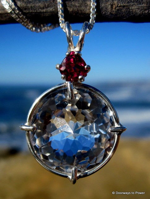 Clear Quartz Radiant Heart Pendant w/ Pink Tourmaline