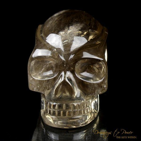 Golden Citrine Elestial Quartz Crystal Traveler Skull