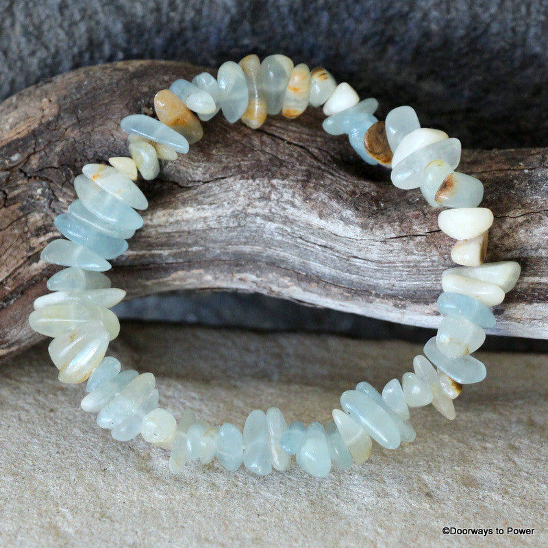 Lemurian Aquatine Calcite Energy Bracelet - Rare