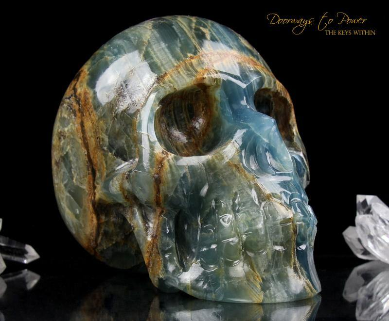 Lemurian Aquatine Calcite Crystal Skull