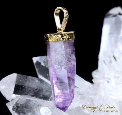Amethyst Light Language Crystal Pendant