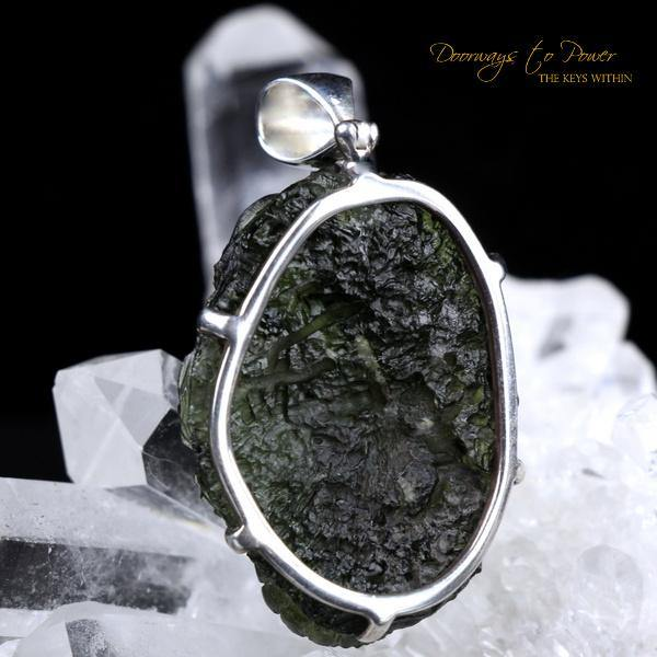 Moldavite Dragon Carving Pendant