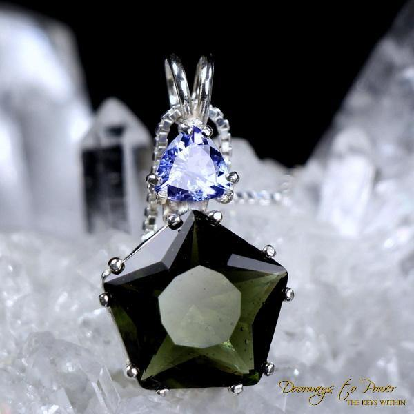 Moldavite & Tanzanite Star of Venus Pendant