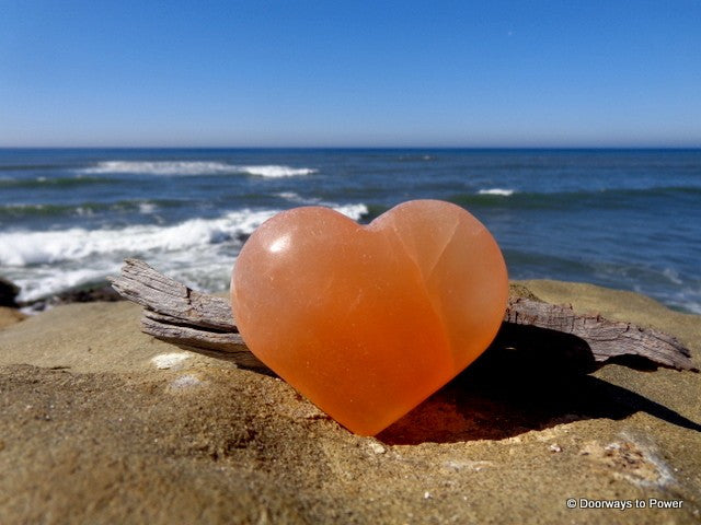 Selenite Crystal Heart Orange