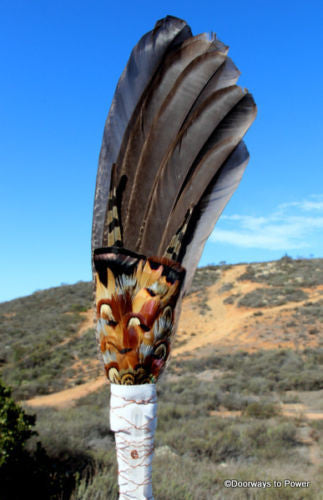 Peacock Tail Feather Smudge Fan - Quartz Crystal