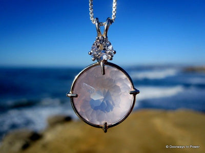 Rose Quartz & Danburite Radiant Heart Crystal Pendant