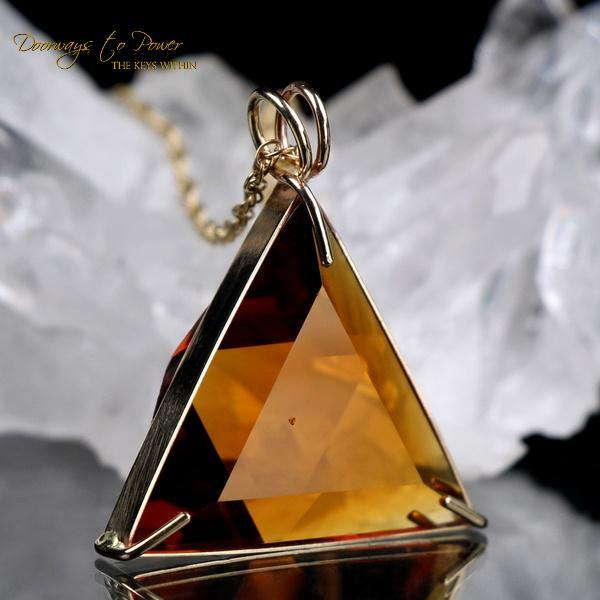 Siberian Gold Quartz Vogel Star of David Pendant 14k