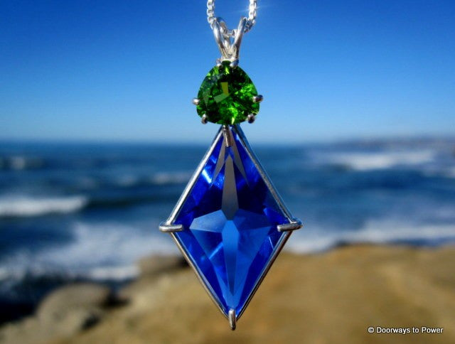 Siberian Blue Quartz Ascension Star Pendant w/ Andara Monatomic Glass