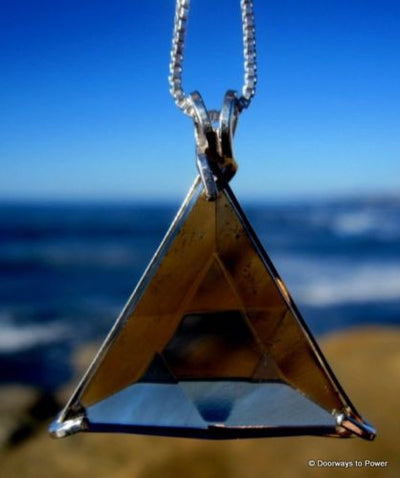 Smoky Quartz Star of David Triangle Pendant
