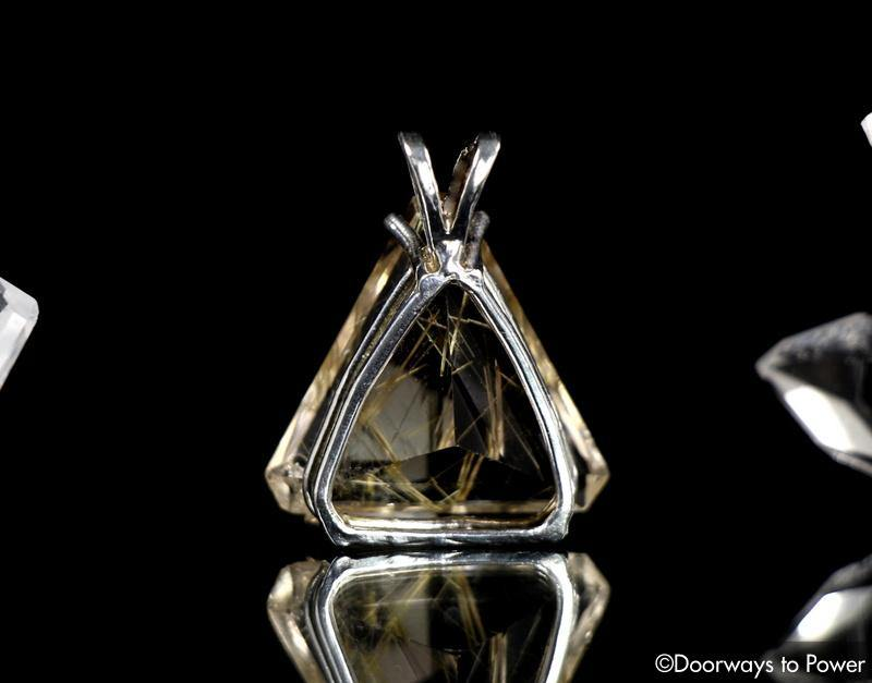 Golden Rutilated Quartz Triangle Faceted Pendant 'The Illuminator'