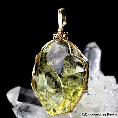 Solaris Andara Crystal Pendant 14k Gold Wire Wrap