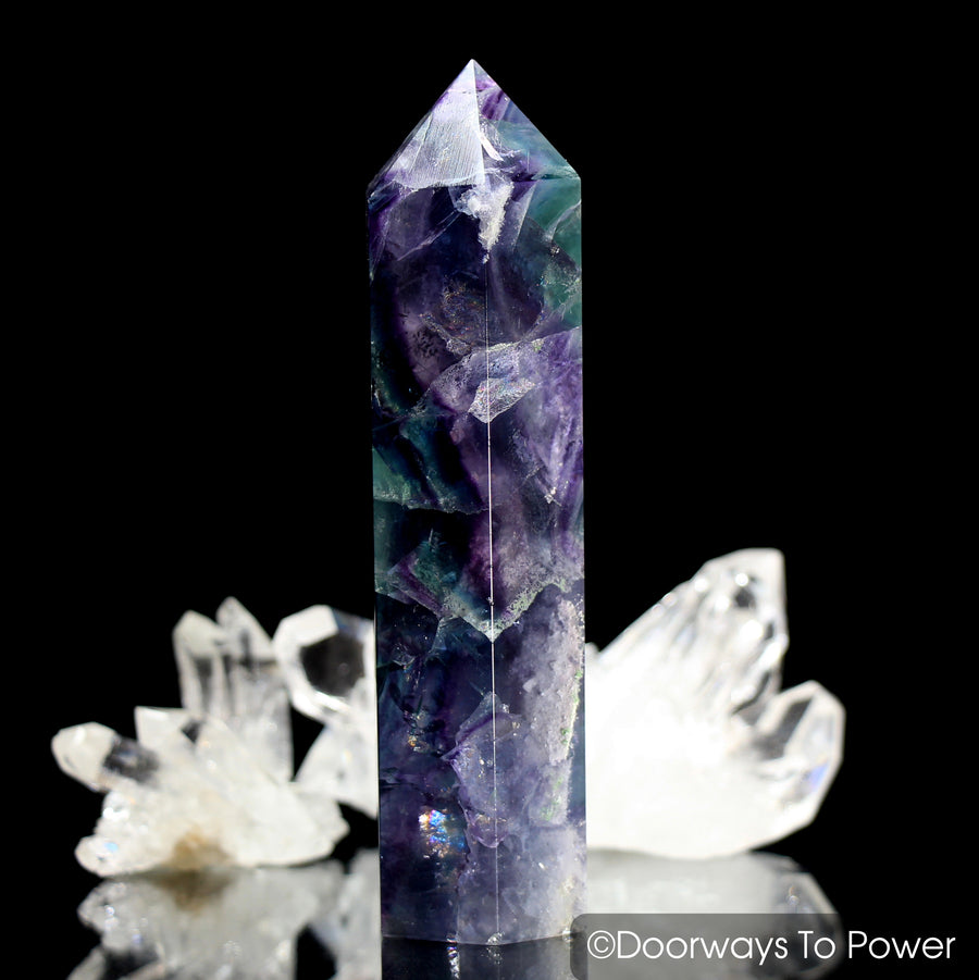 John of God Blessed Rainbow Fluorite Generator Healing Casa Crystal Point