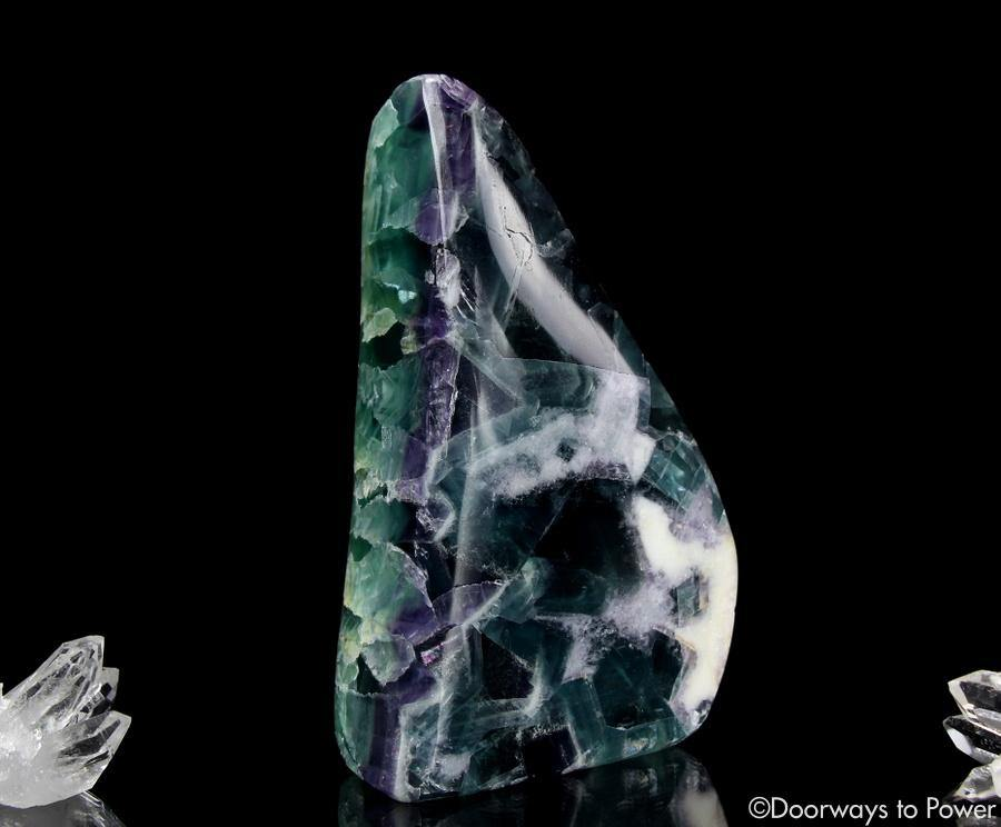 Green Purple Fluorite Crystal Altar Stone XL