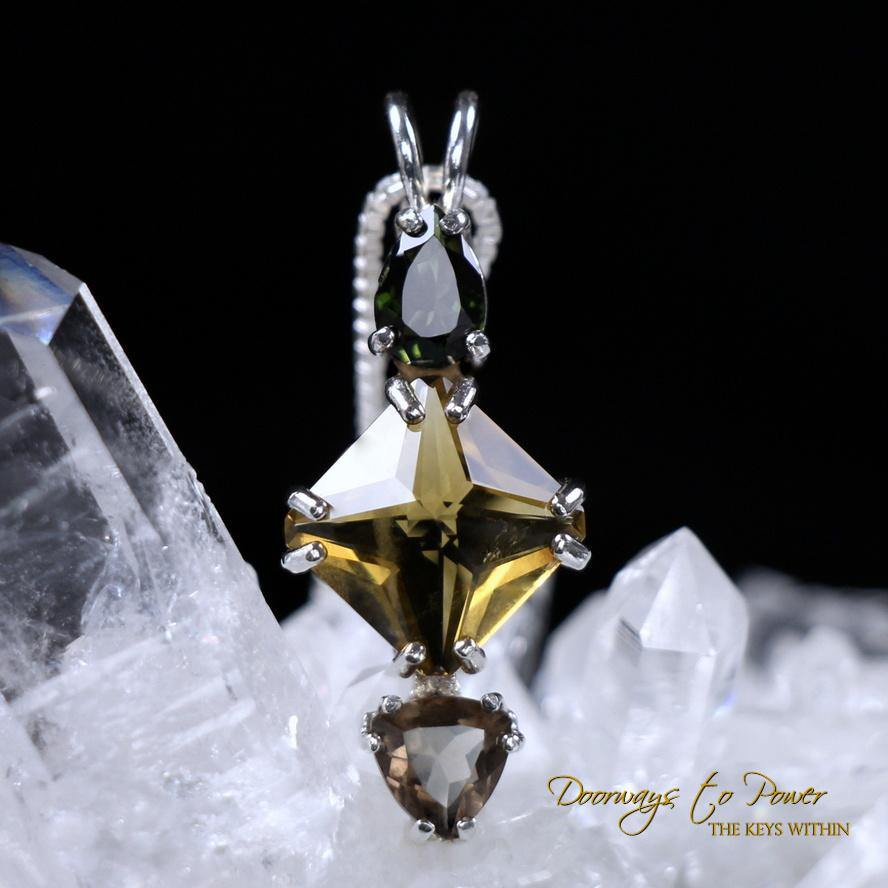 Green Tourmaline Citrine Mini Magician Stone Pendant Smokey Quartz