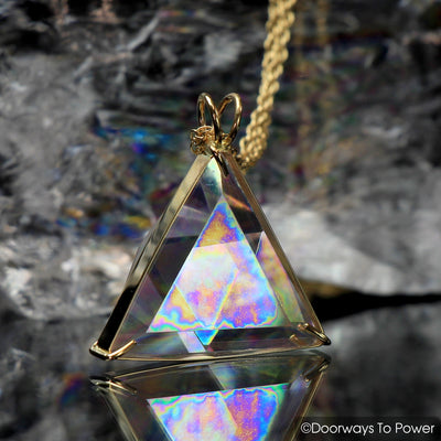 Angel Aura Star of David Triangle Vogel Crystal Healing Pendant 14k Gold