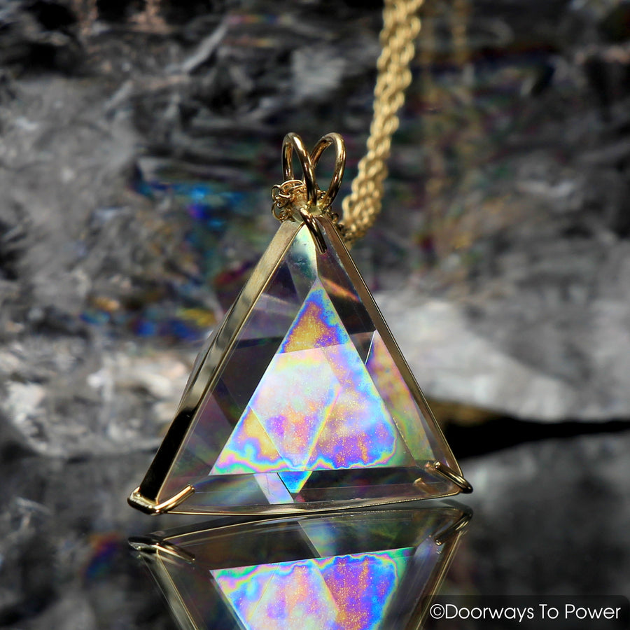 Angel Aura Star of David Triangle Vogel Crystal Pendant 14k Gold