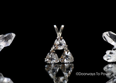John of God Crystal Triangle Pendant  Fine  A +++ Faceted Gemstones