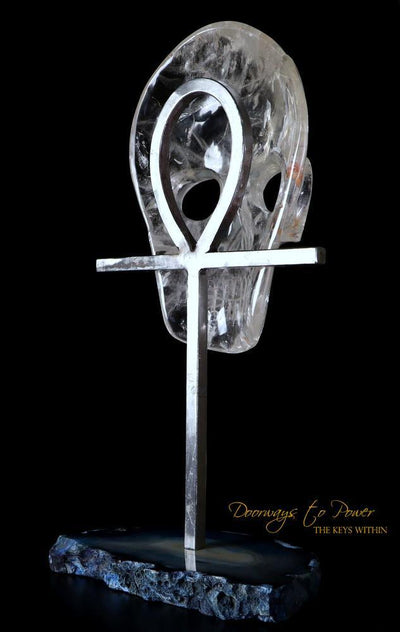 Clear Quartz Crystal Mask Egyptian Ankh ¥ Crystal Sculpture