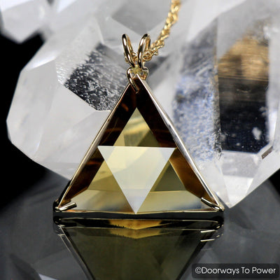 John of God Triangle Citrine Star of David Vogel Crystal Pendant 14k