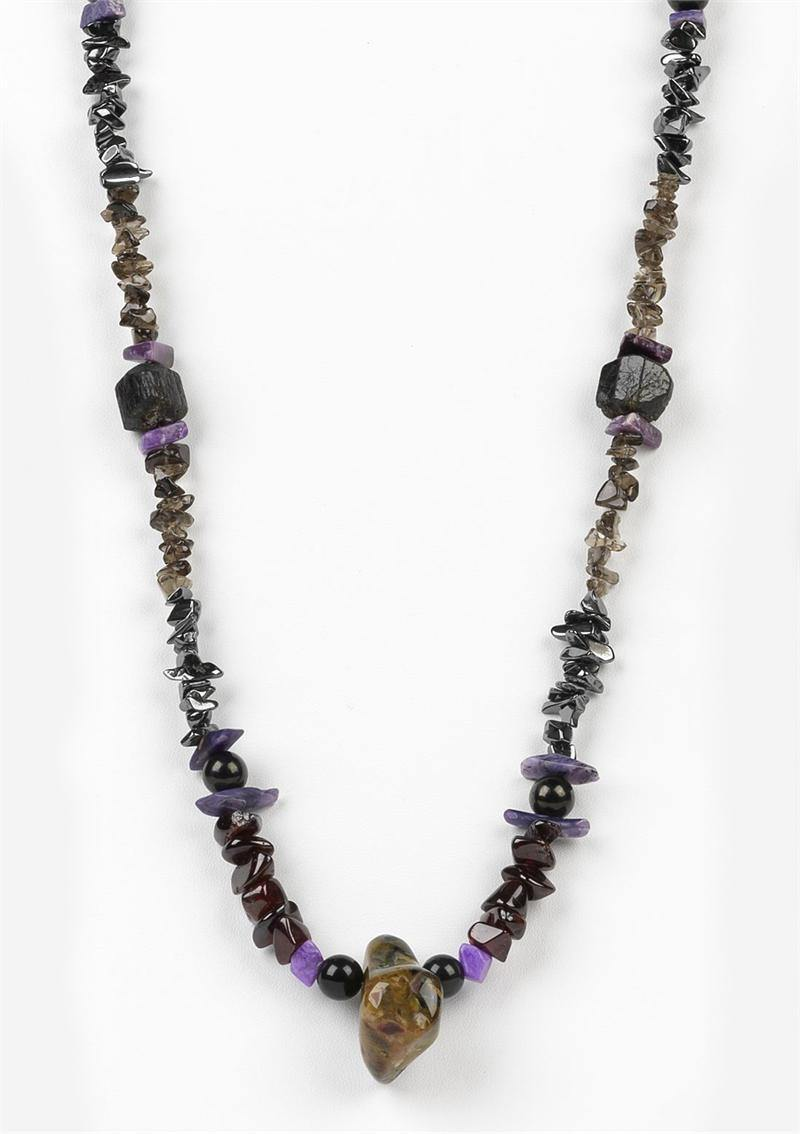 Grounded & Protected Crystal Energy Necklace w/ Pietersite, Black  Tourmaline, Jet & More