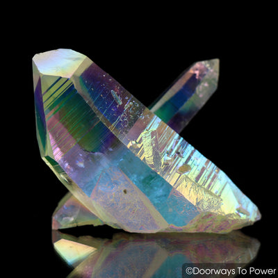 Angel Aura Lemurian Seed Quartz Master Record Keeper Cross Crystal