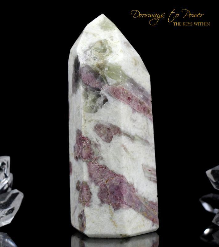 Pink Tourmaline in Quartz Point with Temple Heart Dow