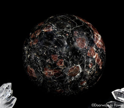 Red Ruby Black Tourmaline Crystal Sphere