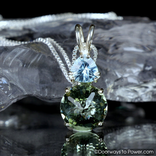 Green Obsidian Blue Topaz Mini Radiant Heart Pendant
