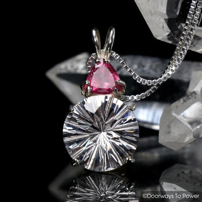 Danburite Super Nova Pendant with Pink Tourmaline