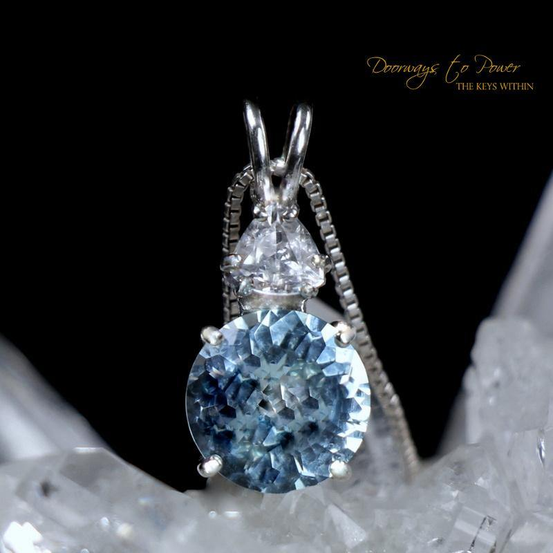 Blue Topaz Radiant Heart Pendant with Phenacite