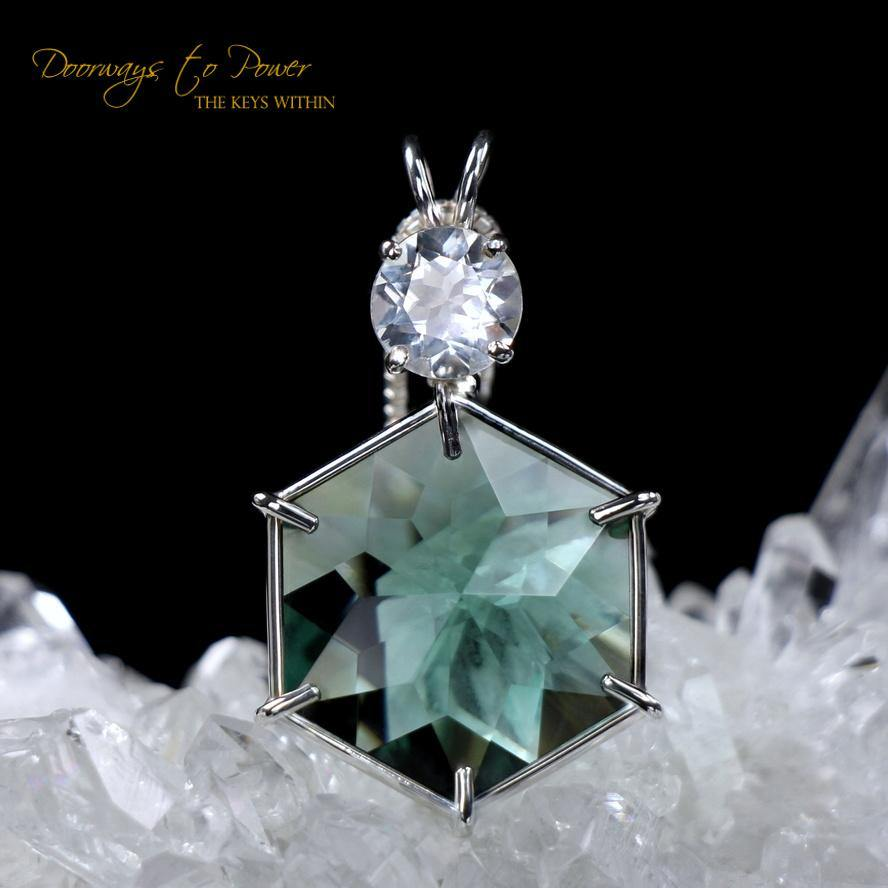 Siberian Green Quartz & Danburite Flower of Life Pendant