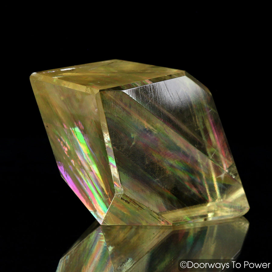 Golden Optical Calcite Crystal India 'Multilevel Awareness'