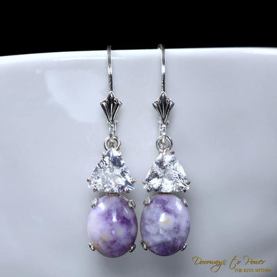 Violet Flame Opal Earrings w/ Satyaloka Azeztulite