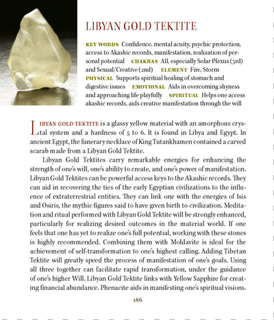 Libyan Desert Glass Specimen Gold Tektite metaphysical properties meanings