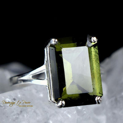 Moldavite Ring Sterling Silver