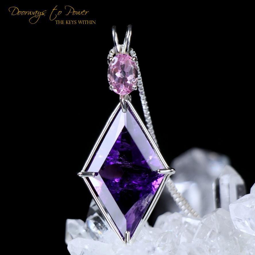 Amethyst Ascension Star Pendant with Pink Topaz